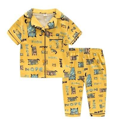 •*~ 辣媽咪衣飾小舖 ~*•❤童裝系列❤K950197韓版兒童夏款超可愛萌款『貓咪』圖案家居服上衣+長褲二件套