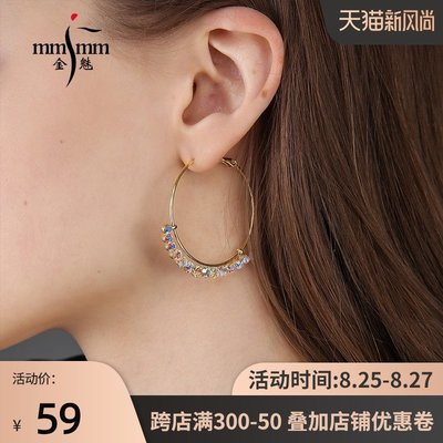 SWEET COVE~金魅925銀針個性潮ins大耳圈耳環2021年新款潮夸張點的圓形圈圈款