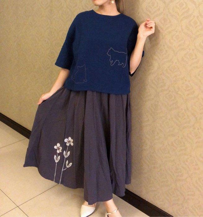 日本卡拉貓~日系質感花棉紗長裙