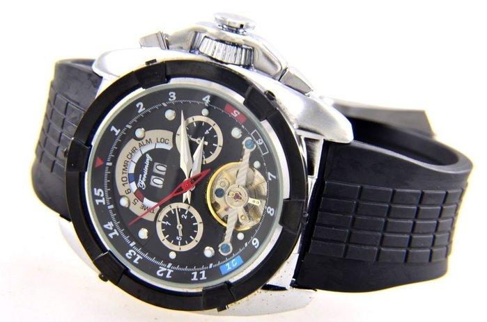 (六四三精品)超大粗礦錶徑4.7公分錶徑.三眼六針.自動上鍊機械錶...