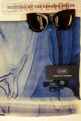 喀什米爾名牌圍巾披肩100%cashmer國際品牌GOBI抽象山水暈染藝術風[設計師款輕薄款高密度織法]200*65 台北市