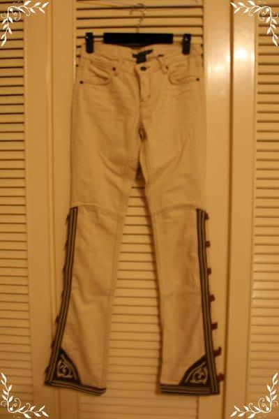 原價$45800 全新頂級Ralph Lauren 真皮皮帶扣裝飾重磅丹寧米色美腿牛仔褲 (29~30腰)