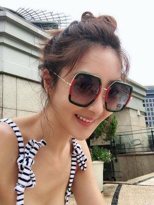 CC Collection 代購 Gucci 經典紅綠/玳瑁矩形大框太陽眼鏡/墨鏡