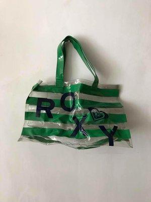 正貨 絕版 Roxy 透明  綠色間條 沙灘袋 U