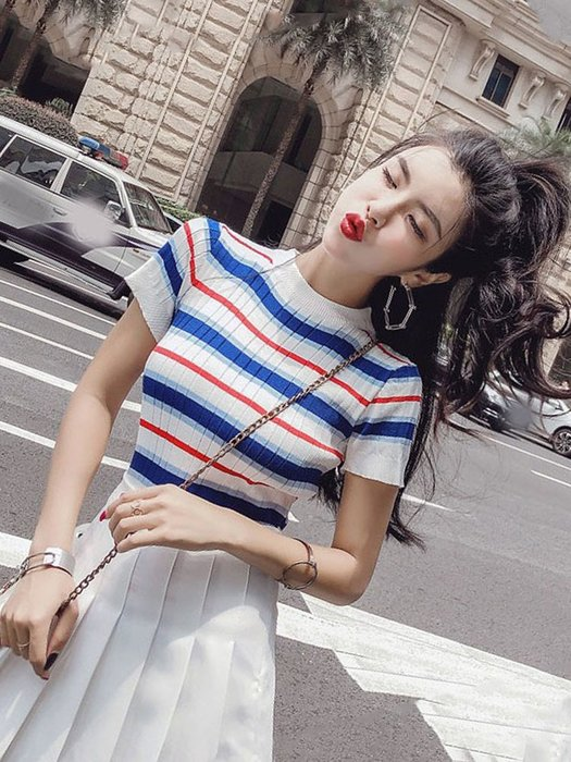 ☆女孩衣著☆網紅同款套裝女社會兩件條紋針織短袖T恤高腰百褶短裙半身裙潮夏(NO.58)