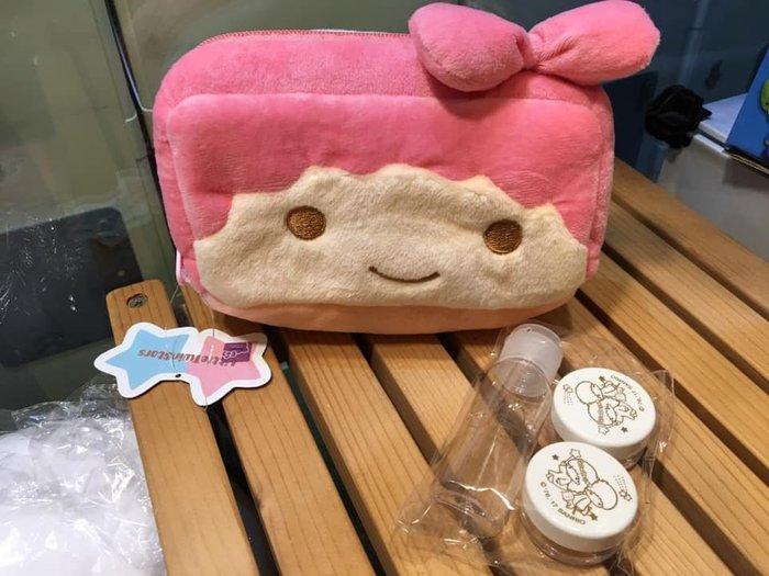 阿虎會社【J - 024】正版 三麗鷗 雙子星 kikilala 旅行組 絨毛化妝包 分裝瓶 分裝罐