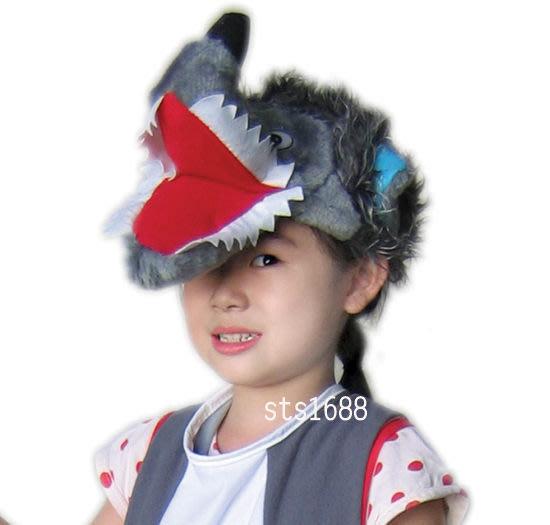【洋洋小品-可愛大野狼帽/頭套】萬聖節.聖誕節.舞會表演造型衣服裝頭飾道具動物帽動物頭套