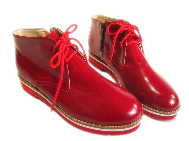 *Beauty*韓國精品 紅色光面平底綁帶鞋 23號 CR