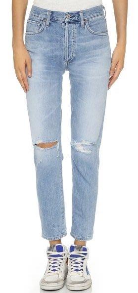 ◎美國代買◎Citizens of Humanity Liya High Rise淺藍刷色雙膝刷破復古高腰九分牛仔褲