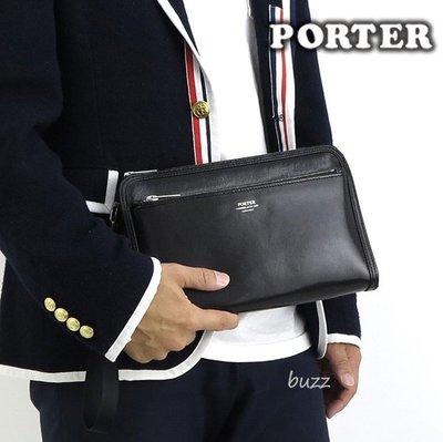 巴斯 日標PORTER屋-三色預購 PORTER CLERK 牛革手拿包 034-03199