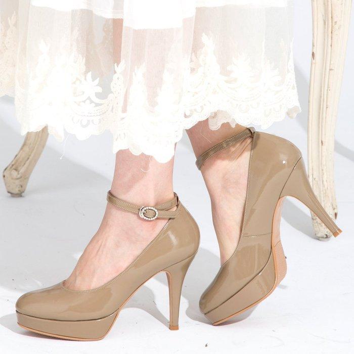 Selly outlet MIT系列-台灣純手工完美比例2way厚底高跟鞋(MIT06)漆皮可可35號 NG261