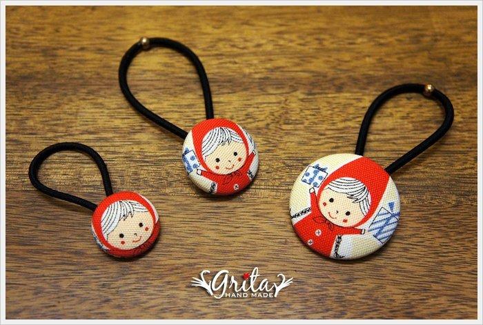 ♥grita's handmade♥布釦髮束╱髮帶╱髮飾╱獨特╱大人小孩都適合—小紅帽(現貨商品)