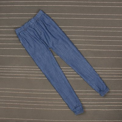 超薄款棉麻藍色寬松束口哈倫褲女休閑九分褲