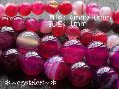 *~水晶貓~全場批發價~*瑪瑙條紋石圓珠串珠材料(玫紅)6mm,單顆