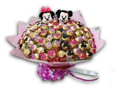 娃娃屋樂園~✿可愛米老鼠金莎花束-100支象徵滿分的愛✿二次進場 每束3900元/抽取式分享花束/第二次進場