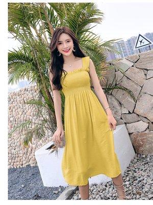 日韓服飾*新款裹胸長洋裝(黃色)*韓國...