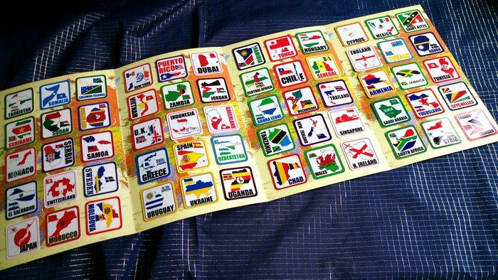 【衝浪小胖】11張。世界國旗領土旅行箱貼紙組合(一套210款)/防水耐候/Rimowa出國必備-每張30元
