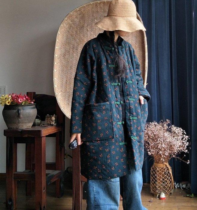 【子芸芳】原創中式盤扣田園碎花寬鬆中長鋪棉大衣外套