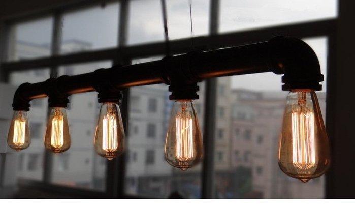 尼克卡樂斯~工業風水管5頭吊燈  loft  設計款吊燈 餐廳燈 客廳主燈 服飾店 咖啡廳 造型燈飾