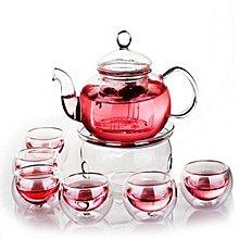 【就是要典雅】優雅耐高溫玻璃花草水泡茶壺+優雅雙層水茶杯8入組具