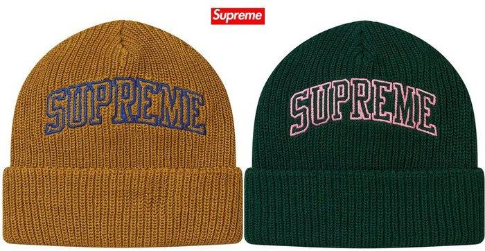 【超搶手】全新正品 2017 最新款 Supreme Loose Gauge Arc Beanie刺繡 反摺毛帽 棕 綠