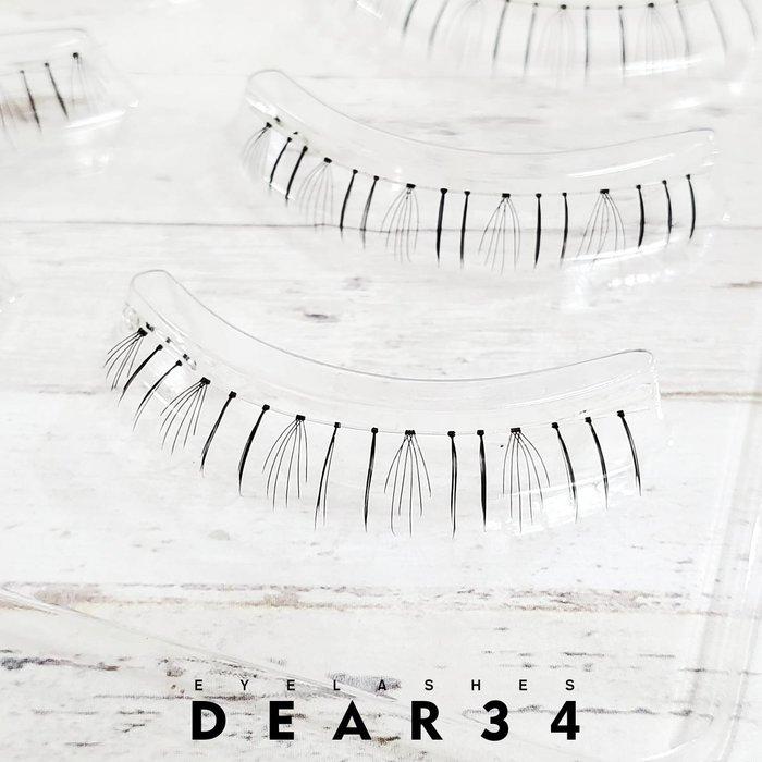 《Dear34》極細磨尖下睫毛18透明梗眼中長根根分明局部加強日系逼真自然純手工編織假睫毛一盒五對價