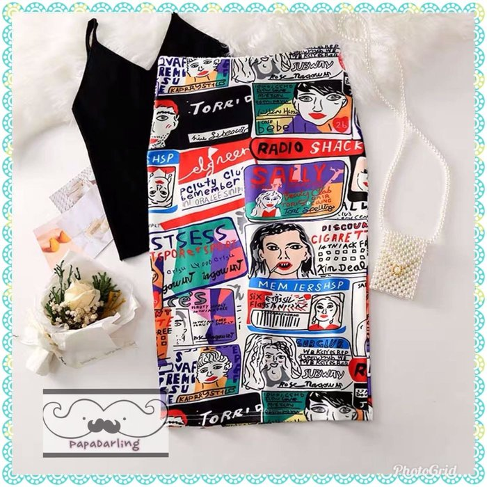 PapaDarling 19SS 時尚搞怪繪畫風高腰顯瘦包臀開叉 窄裙 及膝裙