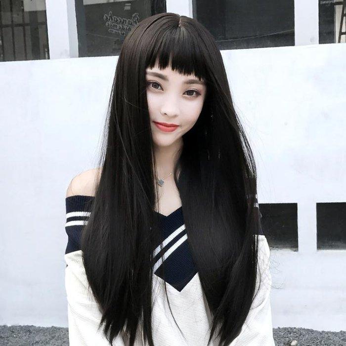中長假髮韓系假髮女長髮帥氣眉上瀏海韓系可愛蓬鬆長捲髮大波浪