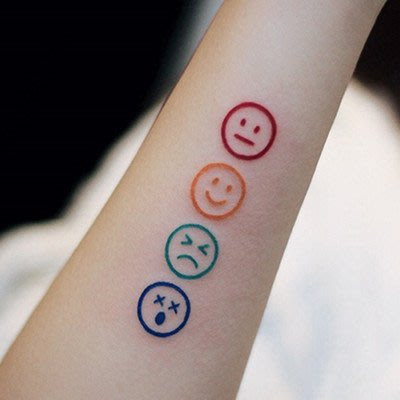 【萌古屋】泫雅風彩虹笑臉 - 兒童Party卡通防水紋身貼紙刺青貼紙RC-522