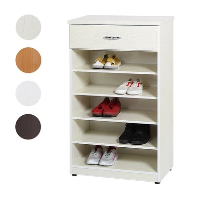 【在地人傢俱】20 環保塑鋼系列-白橡/木紋/白色/胡桃色2.1尺開棚單抽鞋櫃/五層開放鞋櫃 GT057-09