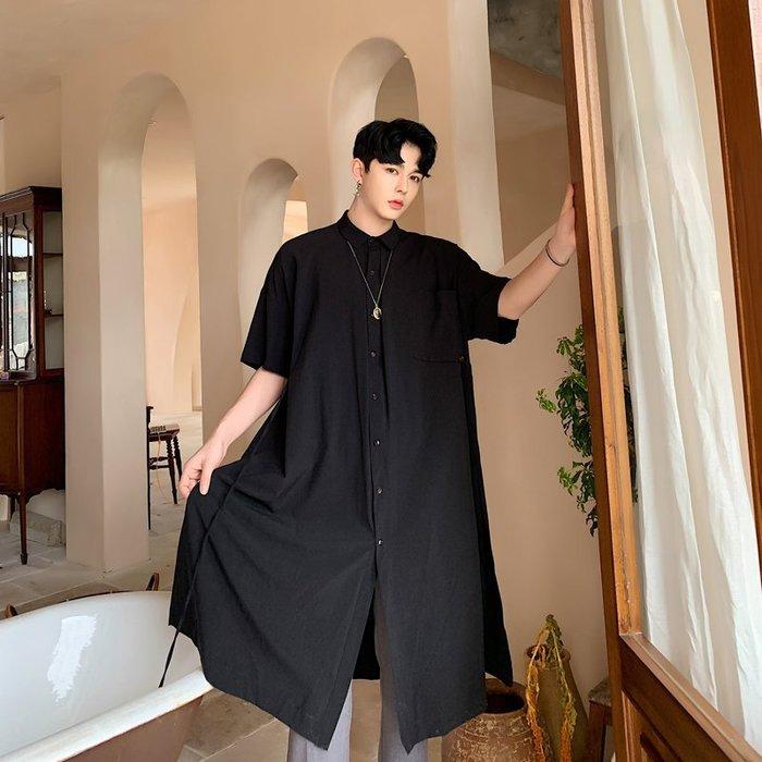 FINDSENSE品牌 訂製 G6 韓系男裝 潮流時尚大尺碼男夏季長襯衫上衣正韓短袖男襯衫五分袖潮牌洋裝簡約寬鬆黑色外套
