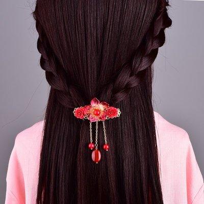 MAMAmi古店 古風新年髮卡夾子頭飾半扎彈簧髮夾頂夾后腦勺過年本命年飾品女