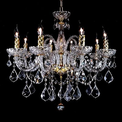 埃及奧地利水晶管金色/鉻色楓葉水滴水晶燈E14-8燈(琥珀色)TA95022