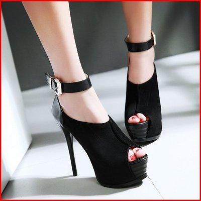*鞋館Shoes hall*【A8321】性感切口美型顯瘦高跟魚口厚底跟鞋~4色~(可訂做大尺碼)
