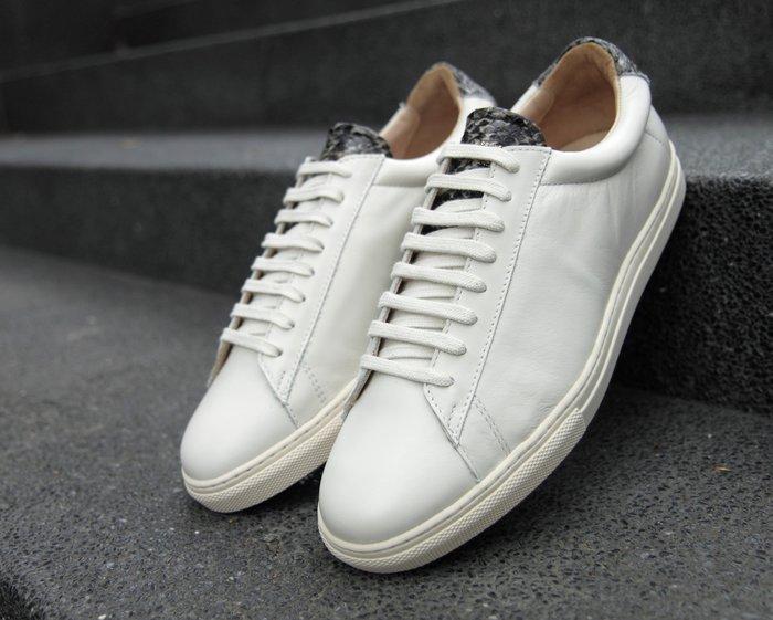 INDiCE ↗ 法國製造 Zespa ZSP4 珍稀皮革繫帶休閒男鞋 蛇皮奶油白