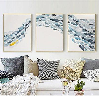 北欧风现代简约蓝色油画鱼群 装饰画画芯喷绘打印画布画心(不含框)