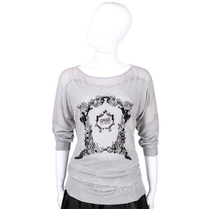 米蘭廣場 CLASS roberto cavalli 灰色拼接珠飾LOGO長袖上衣 1520575-06
