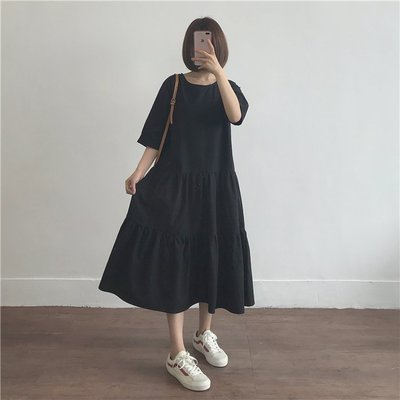 Dora【MA2000】現貨.法式娃娃兩版型連身裙-黑色長L