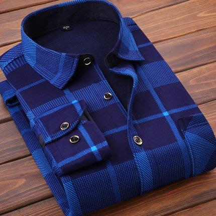[C.M.平價精品館]L~4XL新品特價/品味有型設計款格紋印花長袖襯衫 加大碼