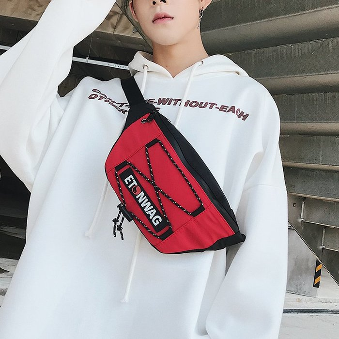解憂zakka~ 潮流新款字母圖案胸包 時尚運動腰包胸包騎行后背挎包 韓版男女包#腰包#背包