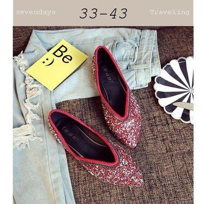 大尺碼女鞋小尺碼女鞋尖頭小碎鑽裝飾V口平底鞋娃娃鞋包鞋紅色(33-43)現貨#七日旅行