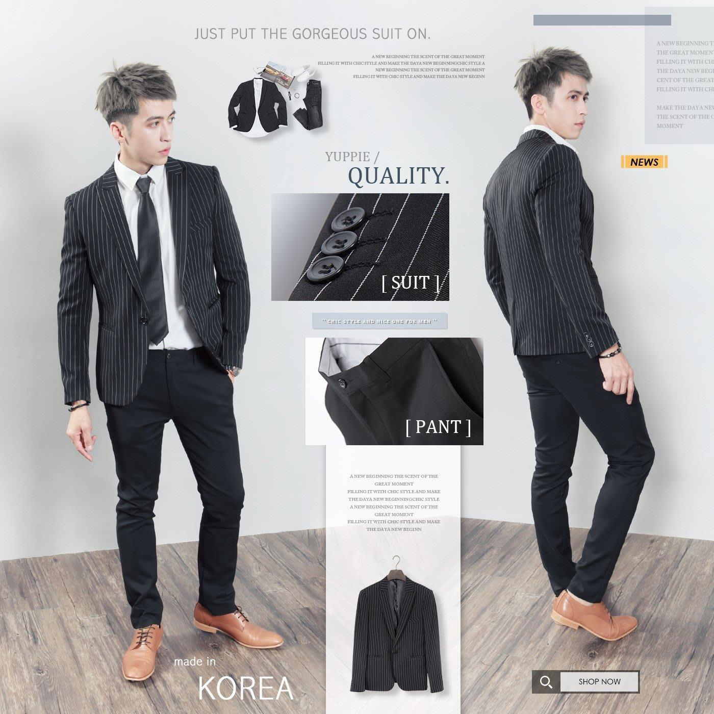 。SW。【K31189】正韓MR 韓國製 修身顯瘦 質感 彈性西裝布 窄版雅痞 劍領 黑 條紋成套西裝 英倫GD
