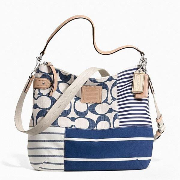 破盤清倉大降價!全新美國名牌 COACH 藍色米白色海洋風側揹包斜揹包!低價起標無底價!本商品免運費!
