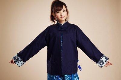 !((中國藍Anewei))藍素布對襟...