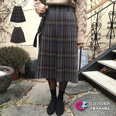 格子過膝裙 時尚學院風百摺格紋毛呢及膝裙 艾爾莎【TGK5870】