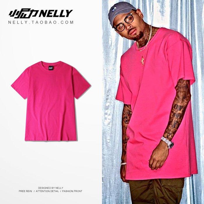 高街暗黑OVERSIZE寬松 粉紅色 枚紅色 t-shirt純色短T恤男女