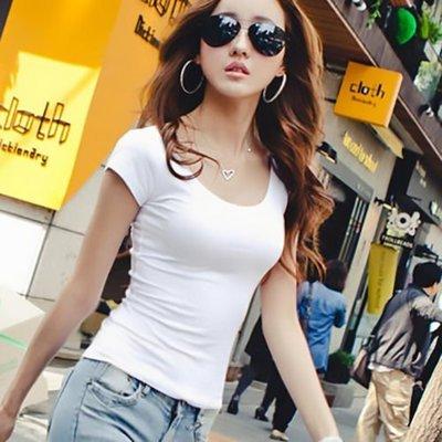 *魔幻甜心*【E972】韓國。緊身性感顯瘦.大圓領低胸夜店 棉短袖T恤.5色