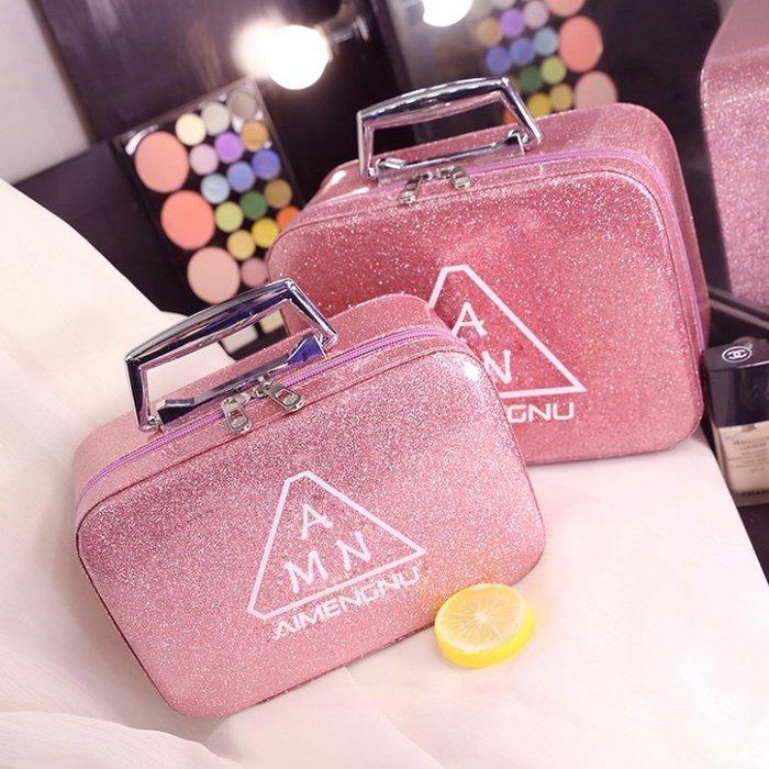 化妝包 小號、大號便攜韓國簡約可愛少女心網紅大容量收納盒 收納盒品化妝箱手提包—莎芭