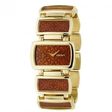 現貨【DKNY- NY 4328】100% 全新正品 時尚 雕花 不鏽鋼 名錶 手錶/ 金色*美國寄出*