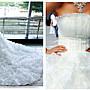*全新~ sasa婚紗禮服~ 華麗大拖尾設計婚紗 白...